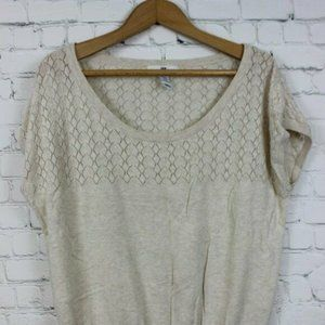 H and M Size 16 Tan Top Cotton Knit Short Sleeve